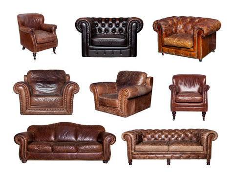 Set of different leather furniture. Collage of side and front views of leather sofa and chair