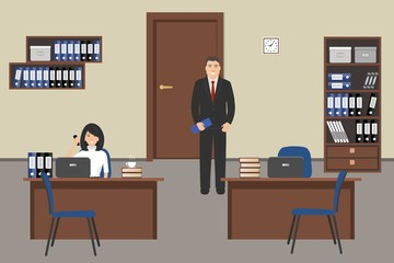 Office room in a beige color. The young woman and man are employees at work. There is furniture in a brown color and blue chairs in the picture. Vector flat illustration