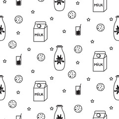 Milk and biscuit scandinavian seamless vector baby pattern. Dairy fun kid black and white pattern with milk bottles on white.