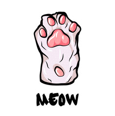 Cat paw palm, isolated on white background. simple cartoon pop art style