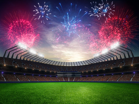 stadium sunset  with people fans and fireworks. 3d render illustration cloudy sky