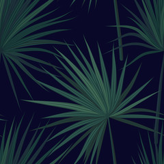 Dark tropical background with jungle plants. Seamless vector tropical pattern with green phoenix palm leaves. Vector illustration.