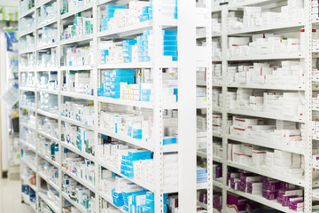 Medicines Displayed At Pharmacy