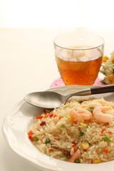 Asian food, shrimp fried fried and iced tea