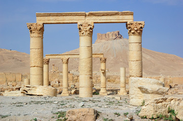 Ancient ruins of the Palmyra city at present destroyed in the Syrian war