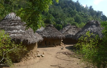Small huts of a quaint village of local tyronans on the hike to Ciudad Perdidad, Colombia