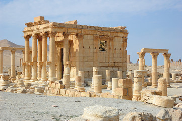 Ancient ruins of the Palmyra city at present destroyed in the Syrian war by ISIS. Photo taken in 2006