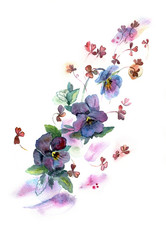 Watercolor hand painted illustration with pansies isolated on white background in gentle tone. Floral birthday card.