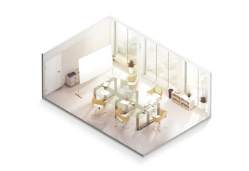 Office interior design mockup inside, isometric view, 3d rendering. Empty conference room mock up, isolated. Realistic business work place with desk and board. Cutaway cubical company department.
