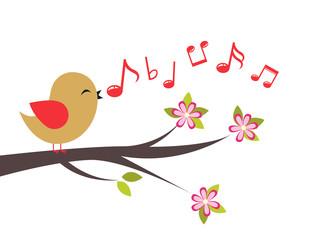Bird with spring tree