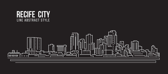 Cityscape Building Line art Vector Illustration design - Recife city