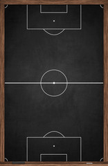 Soccer field layout drawn on vertical oriented black chalkboard in wooden frame with chalk and wiper