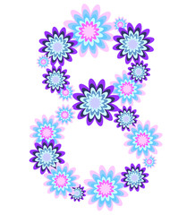 Delicate vector background with eight of flowers