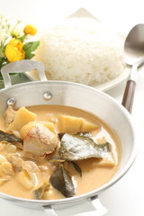 Thai food, yellow curry served with rice