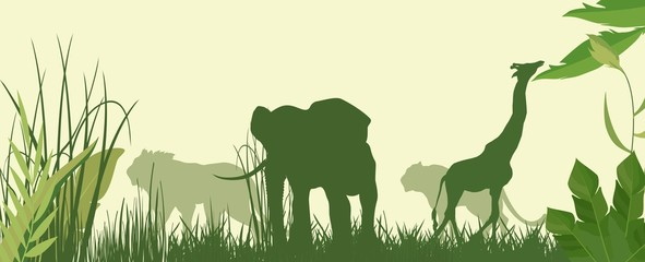 Horizontal vector illustration of Green silhouettes of african savannah with animals.
