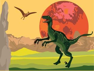 T-Rex dinosaurs on vector prihistoric landscape. Vector illustration