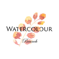 Vector watercolor logo image with pink and orange flower.