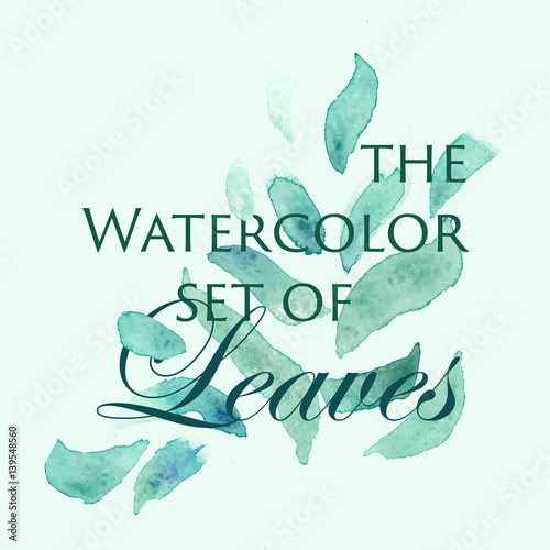 Vector Watercolor Logo Image With Green Leaves For Creating A