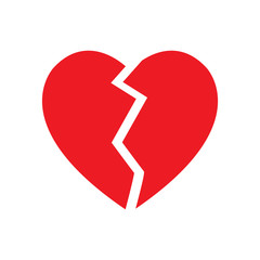 broken heart symbol isolated vector