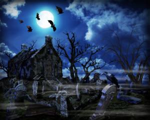 Halloween background - Spooky graveyard