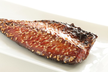 mackerel marinated mirin with sesame for Japan food ingredient image