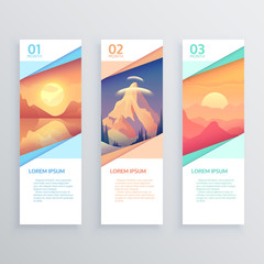 Set of  banners with landscapes.