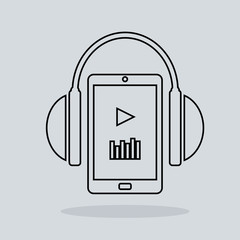 Linear music icon headphones with player