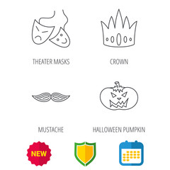 Crown, pumpkin and theater masks icons. Mustache linear sign. Shield protection, calendar and new tag web icons. Vector