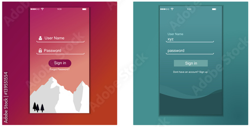 App login screen signup password screen layout login to for App layout design online
