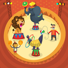 Circus performers. Isolated people and animals doing tricks on arena. Vector illustration