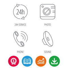 Phone call, 24h service and sound icons. Photo camera linear sign. Award medal, growth chart and opened book web icons. Download arrow. Vector