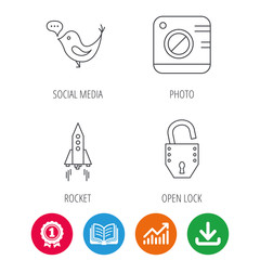 Photo, social media and rocket icons. Open lock linear sign. Award medal, growth chart and opened book web icons. Download arrow. Vector