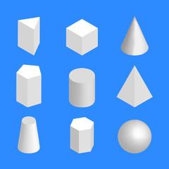 Simple geometric figures isometric, vector illustration.