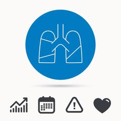 Lungs icon. Transplantation organ sign. Pulmology symbol. Calendar, attention sign and growth chart. Button with web icon. Vector