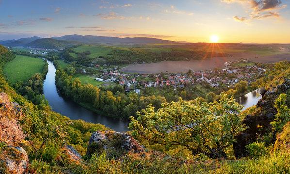 Serene sunset landscape by the Hron River, Slovakia..