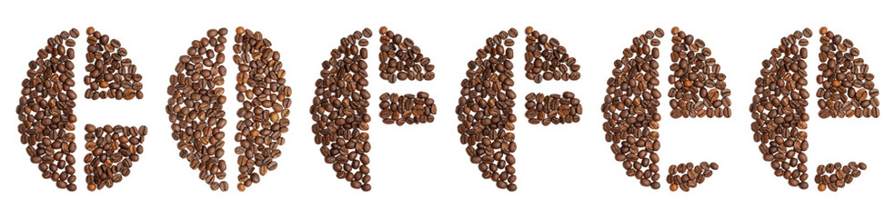 word coffee written in coffee beans typeface