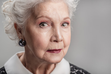 Senior woman looking forward pensively