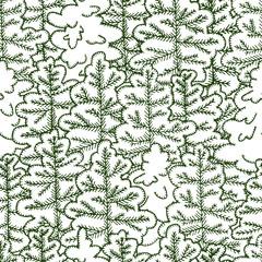 Seamless vector pattern. Hand drawn snowy fir-tree