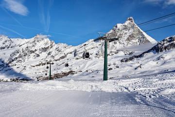 Mountain skiing - view at Matterhorn, Italy, Valle d'Aosta, Breuil-Cervinia, Aosta Valley, Cervinia