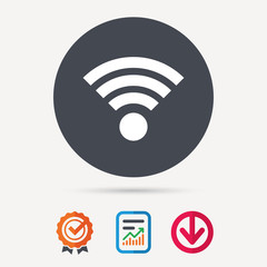 Wifi icon. Wireless internet sign. Communication technology symbol. Report document, award medal with tick and new tag signs. Colored flat web icons. Vector