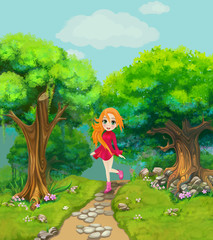 Happy girl walking on a path through the wood. Illustration.