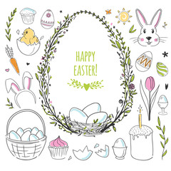 Set of cute hand drawn doodles for Easter decorations. Vector illustration.