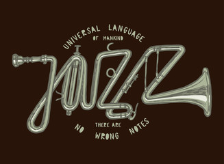 Wall Mural - jazz trumpet vintage print. jazz word lettering made of realistic trumpet