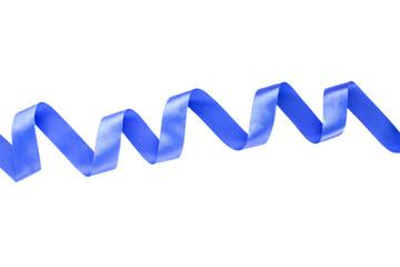 Blue shiny satin ribbon on white background
