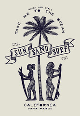 vintage tribal surf print with girls and palm - sun sand surf