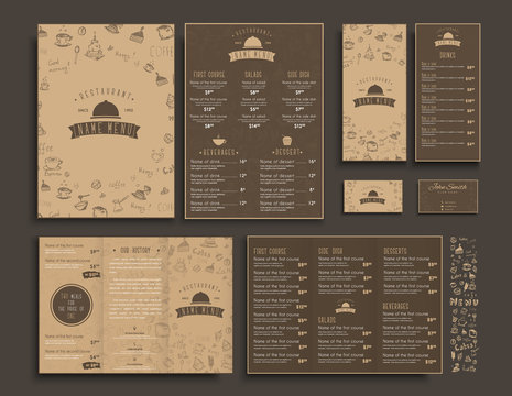 Set of A4 menu, folding brochures and flyers narrow for a restaurant or cafe.