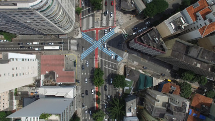Top View of Consolacao Avenue in Sao Paulo, Brazil