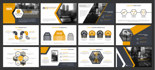 Creative set of abstract infographic elements. Modern presentation template with title sheet. Brochure design in yellow, dark blue, white and gray colors. Vector illustration. City street image. Urban