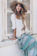Girl wearing boho chic clothing