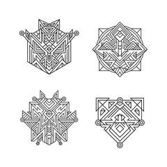 Ancient ornament symbols set. Sacred geometry line art.Vintage ornamental signs.